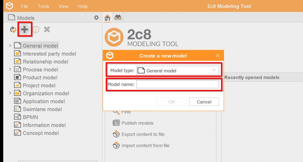 Create a general model 2c8 Modeling Tool