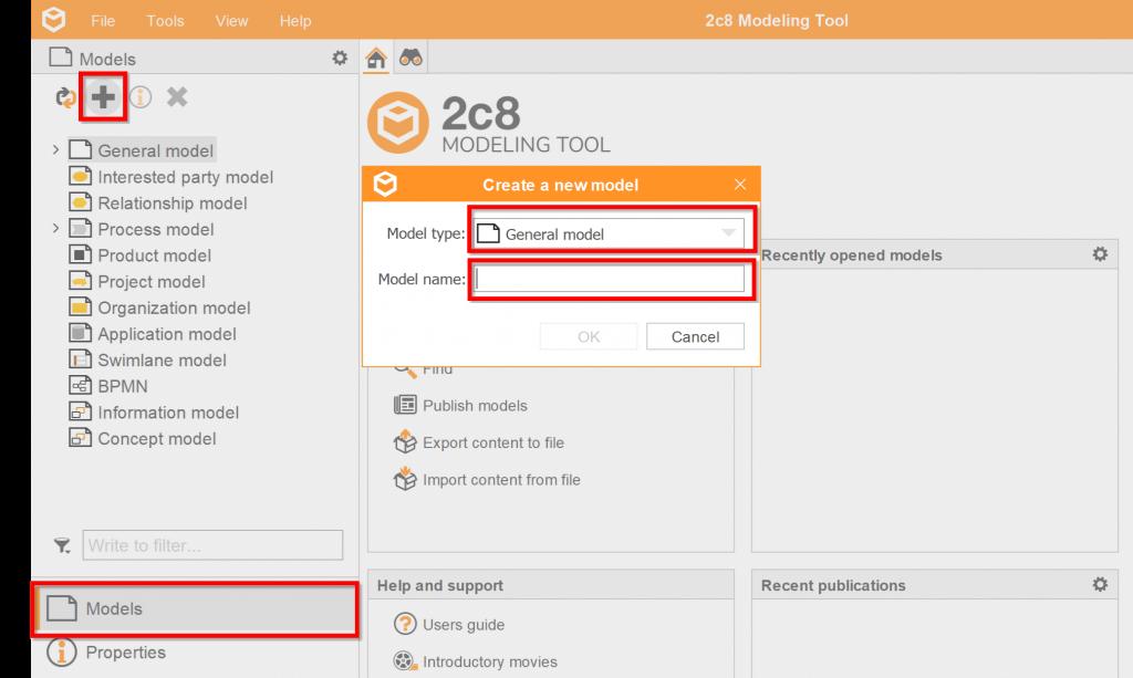 Create a model 2c8 Modeling Tool